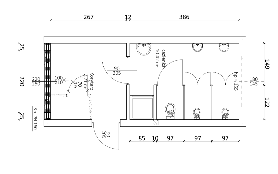 projektowanie toalety przebieralnie baseny plywalnie